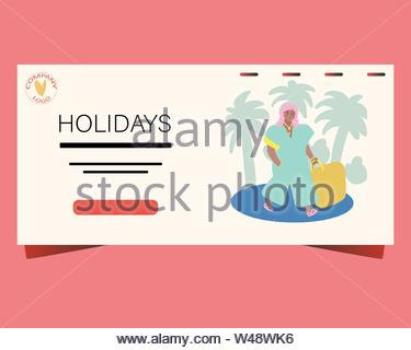 Landing page with fashion girl on holidays. Holidays note. - Stock Photo