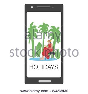 Smartphone screen with a girl drawing or reading on a bench by palm trees. Holidays. - Stock Photo