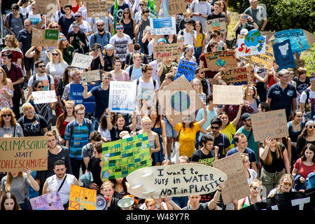 First international climate protection demonstration, climate strike, of the Fridays for Future movement, in Aachen, with tens of thousands of partici - Stock Photo