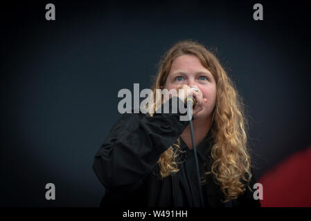Kate Tempest performing at Blue Dot Festival 2019. Taking place between 18-21 July at Jodrell Bank, Cheshire UK.  The National World Heritage observat - Stock Photo
