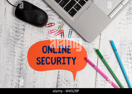 Text sign showing Online Security. Business photo showcasing rules to protect against attacks over the Internet Metallic slim laptop speech bubble col - Stock Photo