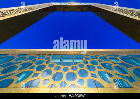 Dubai, United Arab Emirates - Jan.15, 2018: Museum of Dubai Frame - view from below - Stock Photo