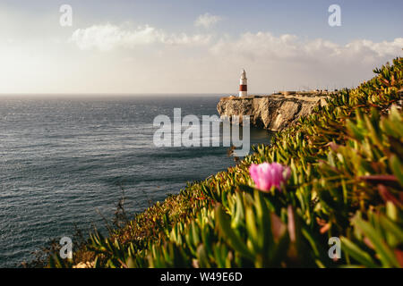 Lighthouse on cliff in background next to ocean - Stock Photo