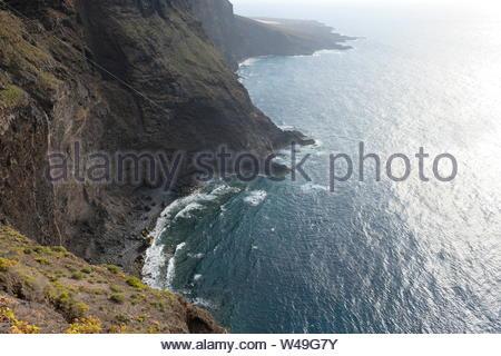 Very high cliffs on coastline in Tenerife (SPAIN) - Stock Photo