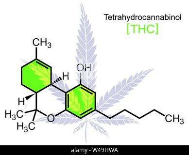 THC Molecule on White - Stock Photo