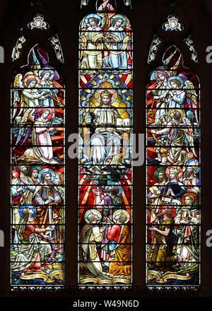 """Christ in Majesty - sometimes referred to as the """"martyrs window"""", as many of the figures were Christian martyrs. - Stock Photo"""