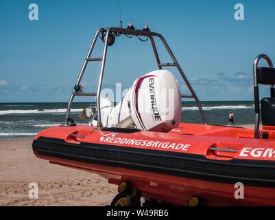 Egmond aan Zee, Netherlands - July 21, 2019: details of a lifesaving ship of the dutch coastguard - Stock Photo