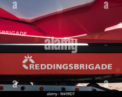 Egmond aan Zee, Netherlands - July 21, 2019: details of a jetski of the dutch coastguard - reddingsbrigade - Stock Photo
