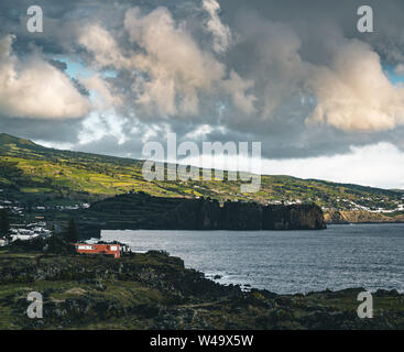 Northern Coast at Sao Vicente Ferreira near Ponta Delgada in Azores islands on Sao Miguel, Portugal. - Stock Photo