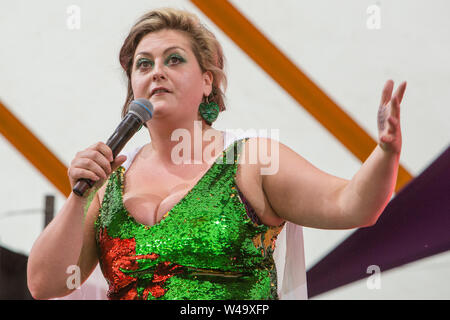 Southwold, UK. 20th July, 2019. Comedian Kiri Pritchard-McLean performs lives on stage at the Henham Park during the Latitude Festival in Southwold, Suffolk. Credit: SOPA Images Limited/Alamy Live News - Stock Photo