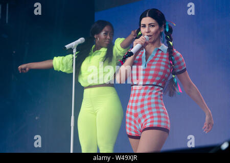 Southwold, UK. 20th July, 2019. Marina and the Diamonds perform lives on stage at the Henham Park during the Latitude Festival in Southwold, Suffolk. Credit: SOPA Images Limited/Alamy Live News - Stock Photo
