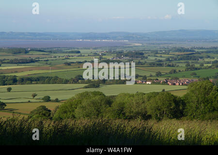 View from high on the Quantock Hills over looking the north Somerset coastline. - Stock Photo