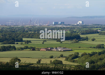 View from high on the Quantock Hills over looking the north Somerset coastline and Hinkley Point nuclear power station. - Stock Photo