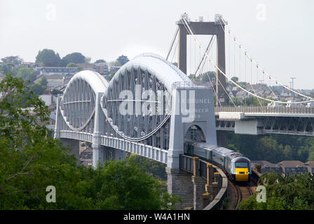 A Great Western Railway short formation HST with power cars 43122 and 43016 crossing theRoyal Albert Bridge at Saltash on the 29th June 2019. - Stock Photo