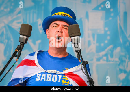 Steven (Steve) Bray, anti-Brexit activist at SODEM founder, speaks on stage at the 'March for Change' anti-Brexit protest in Westminster, London, UK - Stock Photo