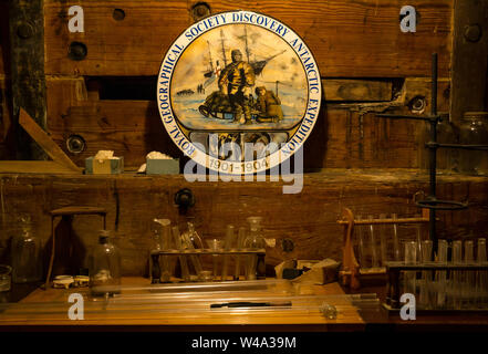 Research laboratory with test tubes, RSS Discovery Antarctic research ship, Dundee, Scotland, UK - Stock Photo