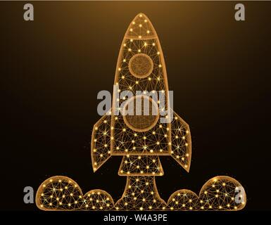 Rocket low poly model, shuttle launch in polygonal style, space ship wireframe vector illustration made from points and lines on dark yellow backgroun - Stock Photo