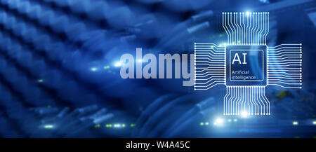 Artificial intelligence Future Technology. Communication Network concept. Blurred modern datacenter background. - Stock Photo