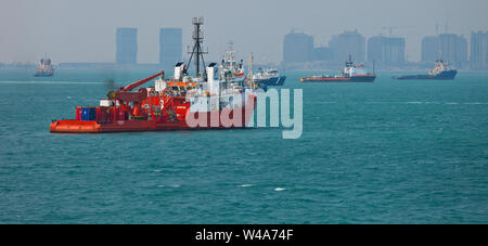 Ciudad de Doha, capital de Qatar. Golfo Pérsico - Stock Photo