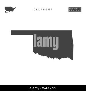 Oklahoma US State Blank Vector Map Isolated on White Background. High-Detailed Black Silhouette Map of Oklahoma. - Stock Photo