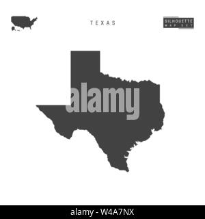 Texas US State Blank Vector Map Isolated on White Background. High-Detailed Black Silhouette Map of Texas. - Stock Photo
