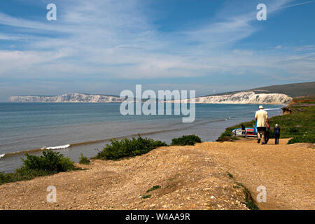 Compton Beach looking from the National Trust car park at Shippards Chine in the Isle of Wight, UK - Stock Photo