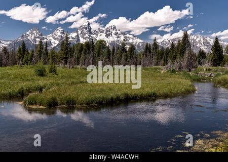 Mount Moran and the Grand Teton mountains reflected on the Snake River at Schwabacher in the Grand Teton National Park near Moose, Wyoming. - Stock Photo