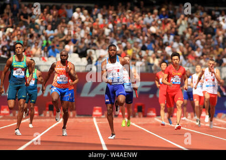 London, UK. 21st July, 2019. Nethaneel Michell-Blake of Great Britain and Northern Ireland leads during the Men's 4x100m Relay. London Stadium, Queen Elizabeth Olympic Park in London on Sunday 21st July 2019. this image may only be used for Editorial purposes. Editorial use only . pic by Steffan Bowen/Andrew Orchard sports photography/Alamy Live news Credit: Andrew Orchard sports photography/Alamy Live News - Stock Photo