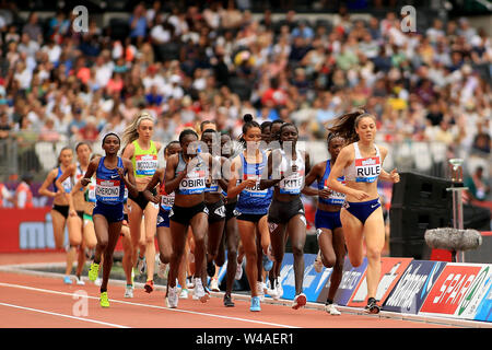 London, UK. 21st July, 2019. Natalie Rule of Australia as she leads the Women's 5000m. Muller Anniversary Games 2019, London Grand Prix at the London Stadium, Queen Elizabeth Olympic Park in London on Sunday 21st July 2019. this image may only be used for Editorial purposes. Editorial use only . pic by Steffan Bowen/Andrew Orchard sports photography/Alamy Live news Credit: Andrew Orchard sports photography/Alamy Live News - Stock Photo