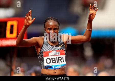 London, UK. 21st July, 2019. Helen Obiri of Kenya celebrates winning the Women's 5000m. Muller Anniversary Games 2019, London Grand Prix at the London Stadium, Queen Elizabeth Olympic Park in London on Sunday 21st July 2019. this image may only be used for Editorial purposes. Editorial use only . pic by Steffan Bowen/Andrew Orchard sports photography/Alamy Live news Credit: Andrew Orchard sports photography/Alamy Live News - Stock Photo