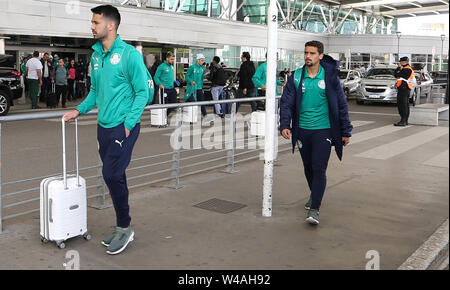 Buenos Aires, Argentina. 21st July, 2019. SE Palmeiras player Luan during landing at Buenos Aires International Airport. Credit: Cesar Greco/FotoArena/Alamy Live News - Stock Photo