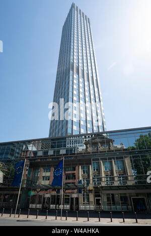 Frankfurt am Main, July 2019.  A view of two modern and classic buildings - Stock Photo