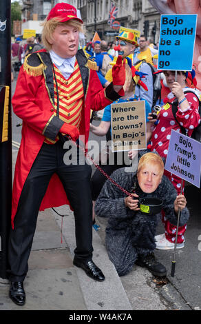 People dressed up as President Trump and Boris Johnson at the  'March for Change' anti-Brexit demonstration in London, UK - Stock Photo