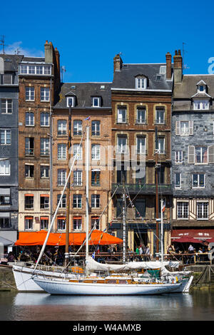 Honfleur Vieux-Bassin (Old Dock) skyline or cityscape on a sunny day of summer, Normandy, France. - Stock Photo