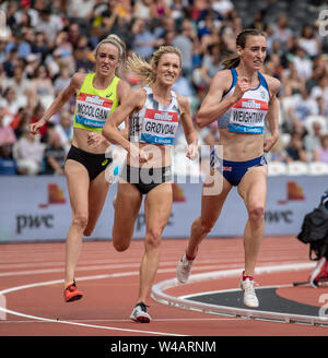 London, UK. 21st July 2019. Eilish McColgan of Great Britain, Karoline Grovdal of Norway and Laura Weightman of Great Britain in action in the Women's 5000m during Day Two of the Muller Anniversary Games IAAF Diamond League event at the London Stadium on July 21, 2019 in London, England. Gary Mitchell/ Alamy Live News - Stock Photo
