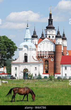 Baroque Gate-Belltower buit in XVII century and Renaissance Suprasl Orthodox Monastery of the Annunciation founded in XV to XVI century in Suprasl, Po - Stock Photo
