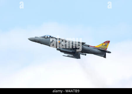 Spanish Navy EAV-8B Harrier II Plus flying on July 20th 2019 at RIAT 2019, RAF Fairford, Gloucestershire, UK - Stock Photo