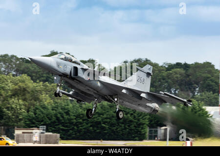 Swedish Air Force Saab Gripen flying on July 20th 2019 at RIAT 2019, RAF Fairford, Gloucestershire, UK - Stock Photo