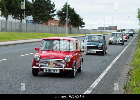 Fleetwood Festival of Transport – Tram Sunday 2019 W481 VFV mini rover seven vintage vehicles and cars attend the classic car show in Lancashire, UK - Stock Photo