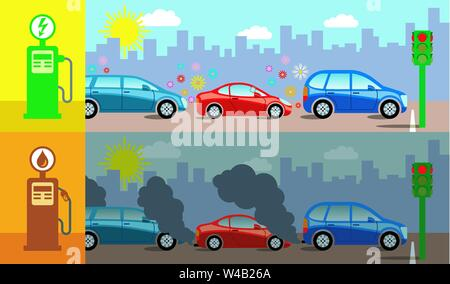 Colorful concept illustration demonstrating the air pollution produced by gas cars compared to electric cars. - Stock Photo