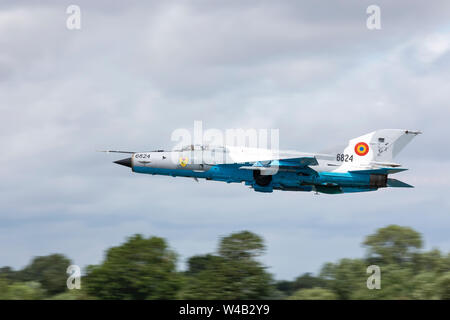 MiG-21 LanceR, Romanian Air Force flying on July 20th 2019 at RIAT 2019, RAF Fairford, Gloucestershire, UK - Stock Photo