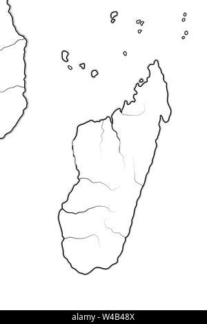 World Map of MADAGASCAR and AFRICA COASTLINE: Madagascar, Zanzibar, Tanzania, South Africa. Geographic chart with oceanic coastline, atolls and isles. - Stock Photo