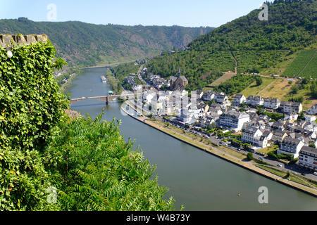 View of Cochem, Germany and the Moselle River from the Castle atop the hill - Stock Photo