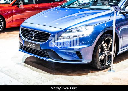 Brussels, Belgium, Jan 2019 blue Volvo V40 station wagon, Brussels Motor Show, 1st gen facelift, small family estate manufactured by Swedish Volvo Car - Stock Photo