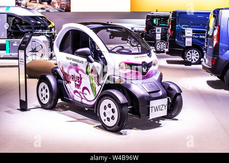 Brussels, Belgium, Jan 2019 small electric Renault Twizy, Brussels Motor Show, two-seat electric car, heavy quadricycle produced by Renault - Stock Photo