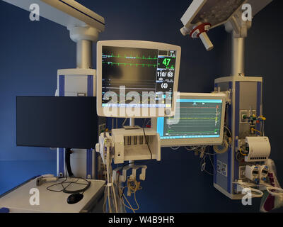 Advanced monitoring equipment in a modern Intensive Care Unit - Stock Photo