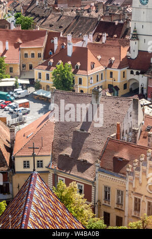 City panorama from the Lutheran Cathedral of Saint Mary in Sibiu, Transylvania, Romania - Stock Photo