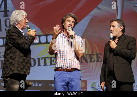 Cap of Agde, France. 21th June, 2019. Day 4 - Patrick Jorge, Eric Lavaine, Michel La Rosa -  The Herault of Cinema and TV. - Stock Photo