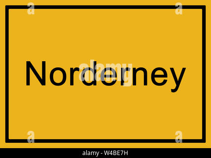 Typical german yellow city sign Norderney - Stock Photo