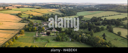 Aerial view of the Village of Upper Slaughter in the Cotswolds, Upper Slaughter, Glocestershire, England - Stock Photo